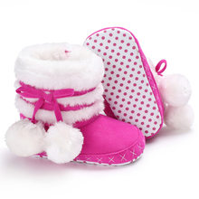 3bf762dffa0 Raise Young 0-18M Winter Plus Velvet Warm Baby Girl Boots White Ball Soft  Soles Toddler Girl Snow Booties Newborn Infant Shoes