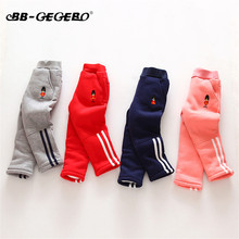 Children Boy Girl Pants Winter Thick Warm Baby Pants 2018 New Cotton Cartoon Sweatpants Kids Sports Trousers