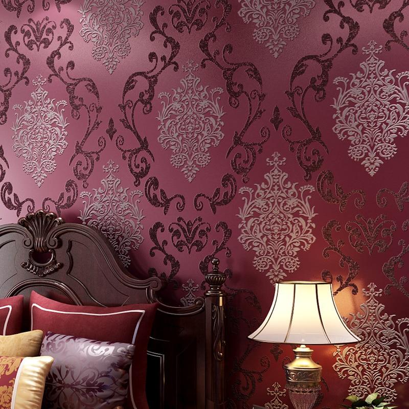 Nonwoven Eco Friendly Purple Damask Wallpaper 0.53*10m Becautiful Home  Decorative Wallpaper(China