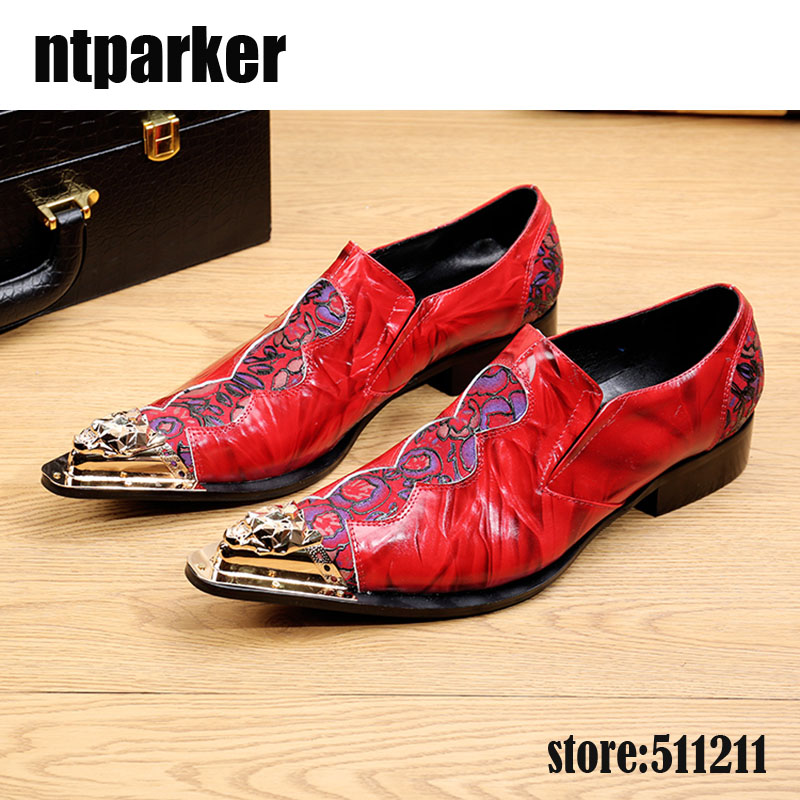 ntparker Brand Italian fashion mens genuine leather shoes sales Red pointed Iron toe business office red designer Wedding Menmenntparker Brand Italian fashion mens genuine leather shoes sales Red pointed Iron toe business office red designer Wedding Menmen