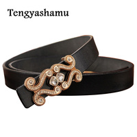 Thin Belt 2016 New Fashion Leather Belts For Women With Diamond Buckle Waistband Famous Designer Waist
