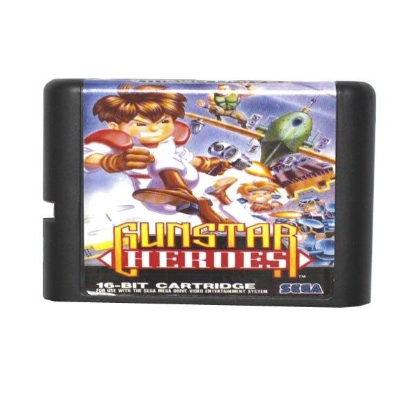 Sega MD game card Gunstar Heroes for 16 bit Sega MD game Cartridge Megadrive Genesis system