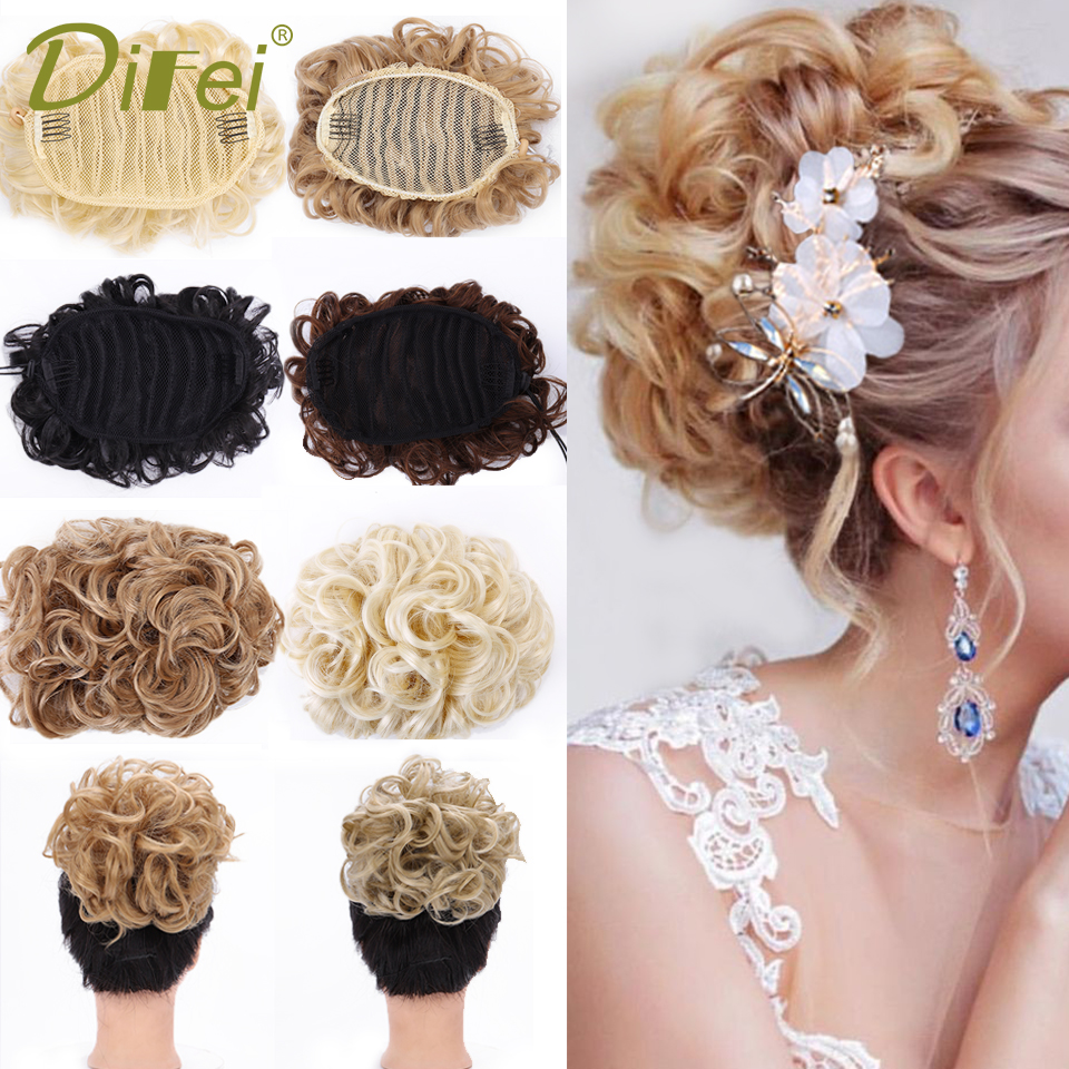 DIFEI Synthetic Short Curly Chignon Elastic Rubber Band Two Plastic Comb Clips In Hair Extensions Hair Bun For Women