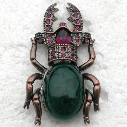 Purple Fashion Strass Beetle Pin broches C2013 D3