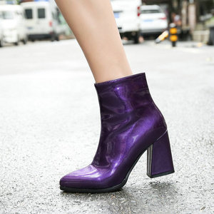 Image 5 - Sianie Tianie 2020 kış patent PU deri gümüş mor altın kadın ayakkabı patik moda blok yüksek topuklu kadın yarım çizmeler