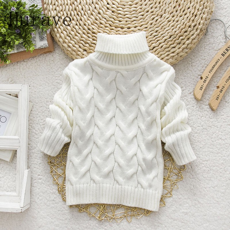 Hurave 2018 autumn winter cute cartoon turtleneck knitted sweaters for baby infant sweater girls boys kitwear