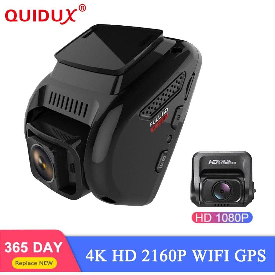 Caméra de tableau de bord QUIDUX 4K Ultra FULL HD GPS 2160P 60fps Dvr avec capteur Sony 1080P caméra arrière Vision nocturne double lentille WIFI Dashcam