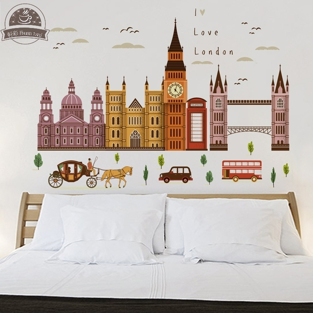 London big ben diy vinyl wall stickers for kids rooms home decor art decals 3d poster