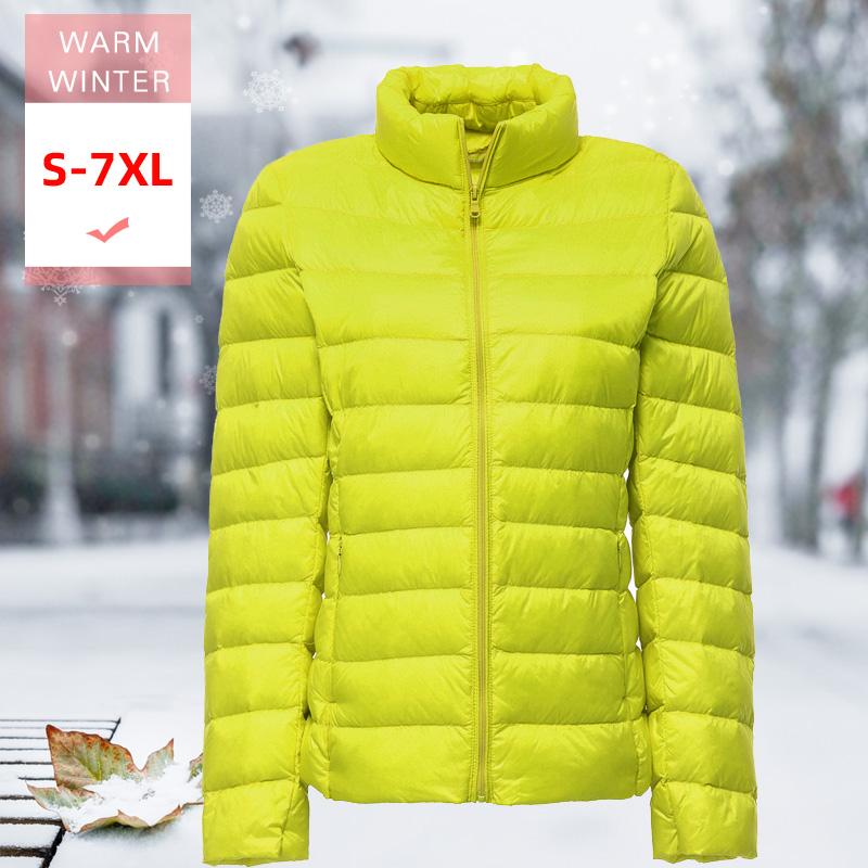 7XL New Autumn Winter Women Slim Thin Short Down Coat Female Ultra Light Warm Stand Collar Down Jacket Big Size Feather Outwear