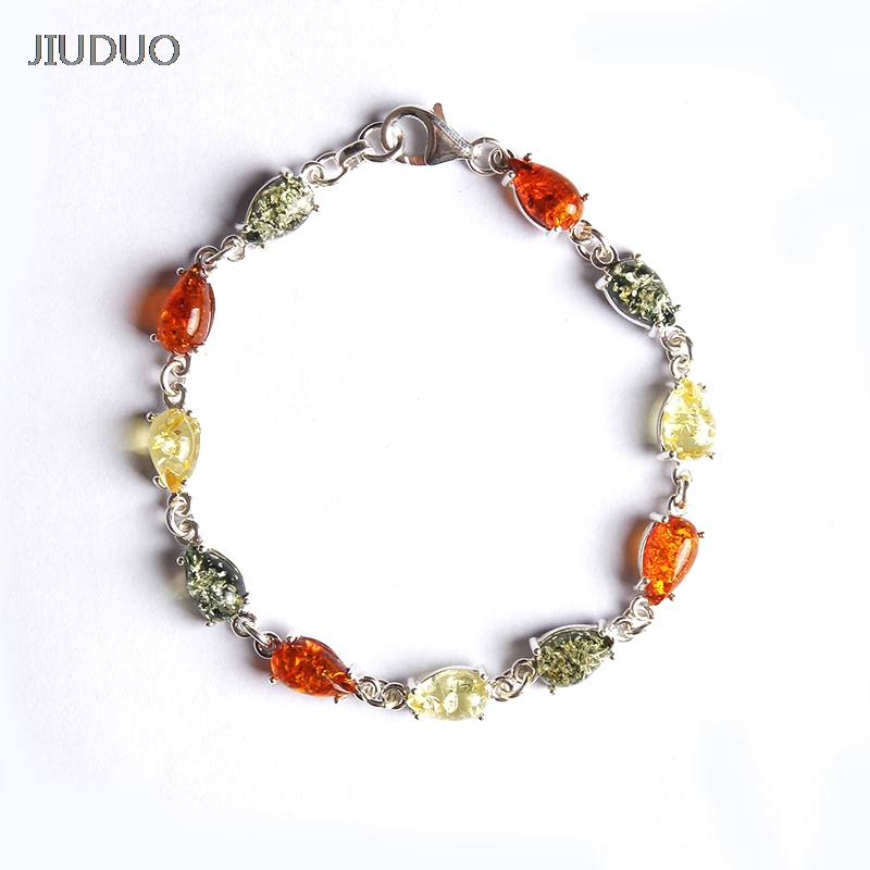 JIUDUO 925 Silver for women Water Drops Natural Amber Bracelet Golden Perot Blood Perfume Wax Handle Retro Jewelry stylish golden hollow rounded rectangle hasp bracelet for women