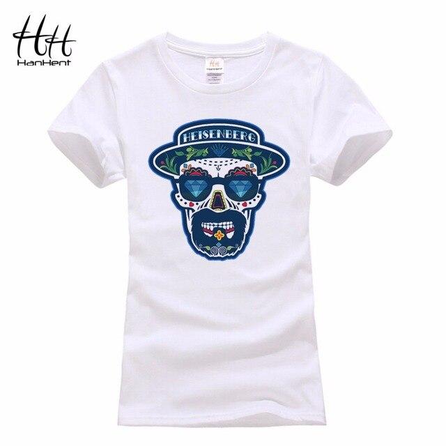 Hanhent camisetas breaking bad heisenberg t camisas da forma das mulheres  3d camisetas crânio rock clothing a9cd2ec4b6074