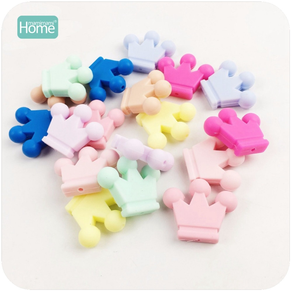 MamimamiHome Baby Silicone Crown Teether 10PC Unfinished Silicone Crown Beads Infant Toys Necklace Pendant Sensory Grasping Toys ...