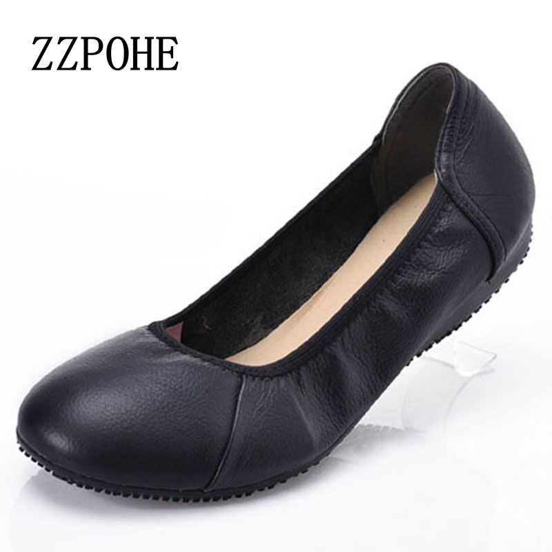 ZZPOHE Woman shoes skirt comfortable woman soft bottom shoes female black flat leather Fashion casual women shoes Size 35-42 large yards soft bottom flat ballerina shoes retro embroidery women shoes comfortable soft bottom casual shoes female ayakkab