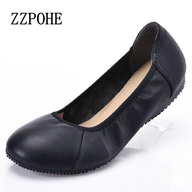 buy popular 2f9fe 58797 US $16.21 26% di SCONTO|ZZPOHE scarpe Donna gonna confort donna scarpe con  suole morbide femminili in pelle piatta nera Moda casual scarpe donna ...