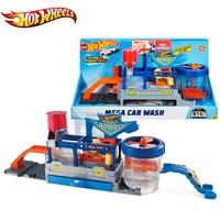 Original HOT WHEELS Car Track City Mega Car Wash Connectable Play Set With Diecast and Mini Toy Car FTB66 Hotwheels Funny Toy