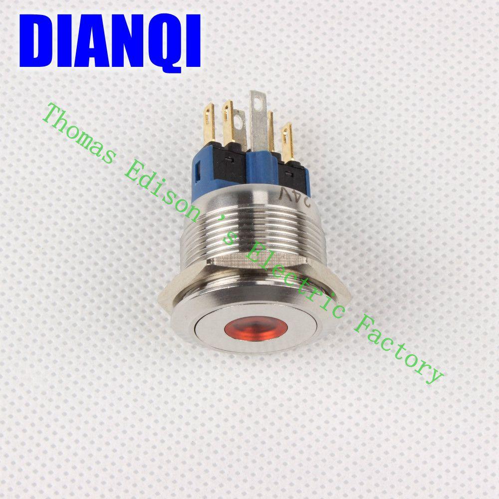 ФОТО High Quality J22-281 J22-381 J22-281R 22MM Stylish Car Boat Metal LED Power Push Button Switch Press-Button Fastener
