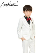 ActhInK Hot Sell 3Pcs Boys Blazer Suit Kids Wedding With Bowtie Teenage Ceremony White
