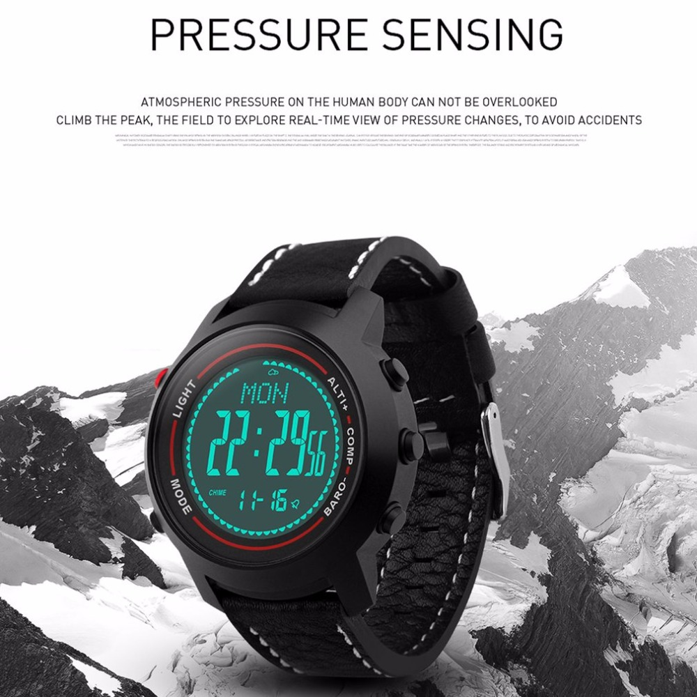 MG03 Men PU Leather Strap Mountaineer Sports Outdoor Smart Watch Altimeter Barometer Thermometer For Boys Valentine Gifts