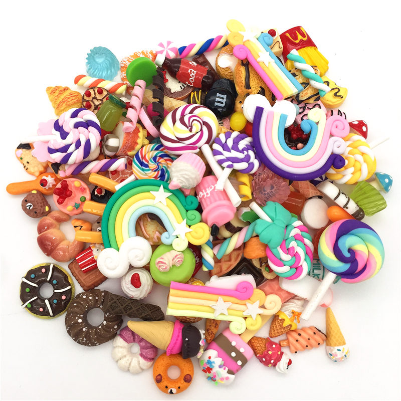 Bolos de resina, sorvete, argila Rainbow, lollipop.donut.mixed modelo, comida kawaii flatback para o telefone shell Decoration.DIY.lets start