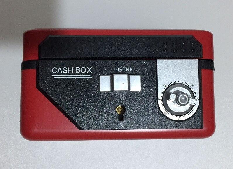25cm*18cm*9cm Double Insurance Red Password Safes Metal Portable Jewelry Cashier Box Piggy Bank