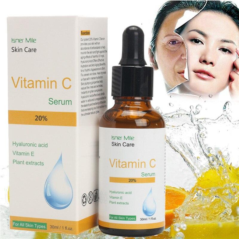 20% Vitamin C Hyaluronic Acid Serum Face Cream Miracle Glow Whitening Facial Lifting Anti-aging Serum Removal Sun Spot Liquid