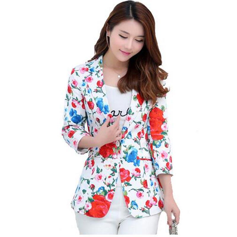 Plus Size Floral Blazer Women Hot Selling Spring Summer Elegance Printed Blazer Women 2016 Slim all