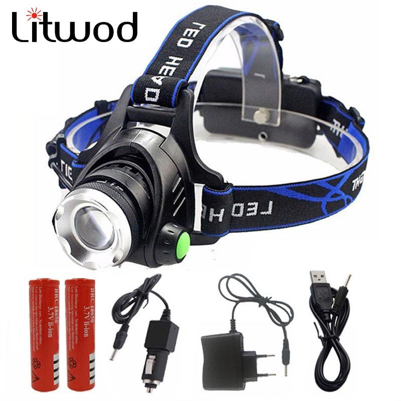 Litwod 568D LED lukturis Alumīnijs XM-L L2 / T6 Tālummaiņas Led Lukturis Lukturis Regulējams galvas lukturis 18650 Baterijas priekšējais lukturis