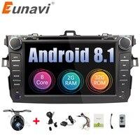 Eunavi Octa core 2 din Android 8.1 car dvd radio player stereo gps for Toyota Corolla 2007 2008 2009 2010 2011 capacitive screen