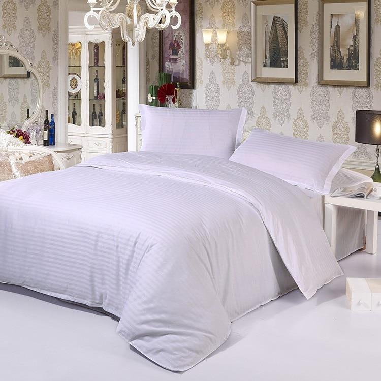 100% хлопок, белый цвет, в полоску, набор постельного белья для гостиниц, постельное белье королевского размера, 4 шт., Комплект постельного бел...
