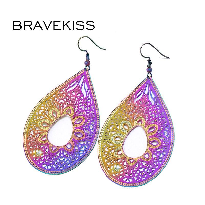 Bravekiss Мода ретро полые резные Нержавеющаясталь Jewelry Висячие серьги для Для женщин красочное покрытие Jewellery Серьги bpe113