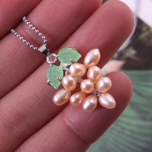 2016 Sale Necklaces & Pendants Collier Maxi Necklace Pendant Necklace Leaf Natural Real Fresh Water Pearl Fashion Grape Women