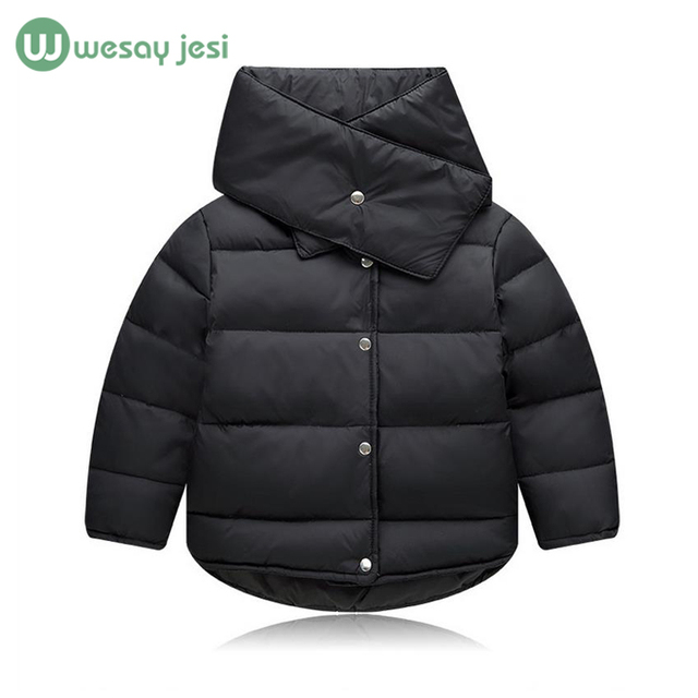 Children's winter jackets Fashion outerwear for Girls Boys duck down coat+scarf 2pcs Set Hooded Zipper Warm Baby Girl parka Jack