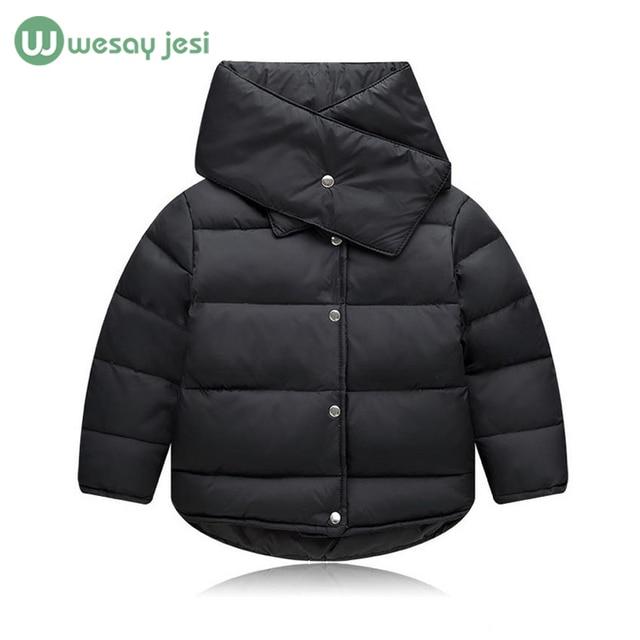 Children's winter jackets Fashion outerwear for Girls Boys duck down coat+scarf 2pcs Set Hooded Zipper Warm Baby Girl parka Jack