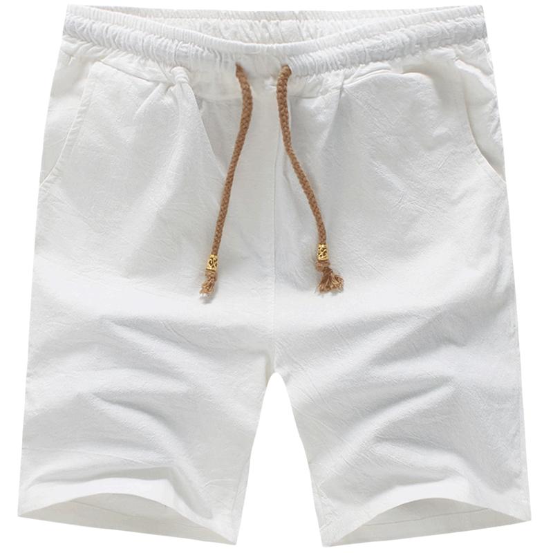 Mens Cotton Shorts 2018 Summer Fashion Casual Drawstring Shorts Men White Iron Gray Khaki Light Blue Navy Blue Black S-5XL