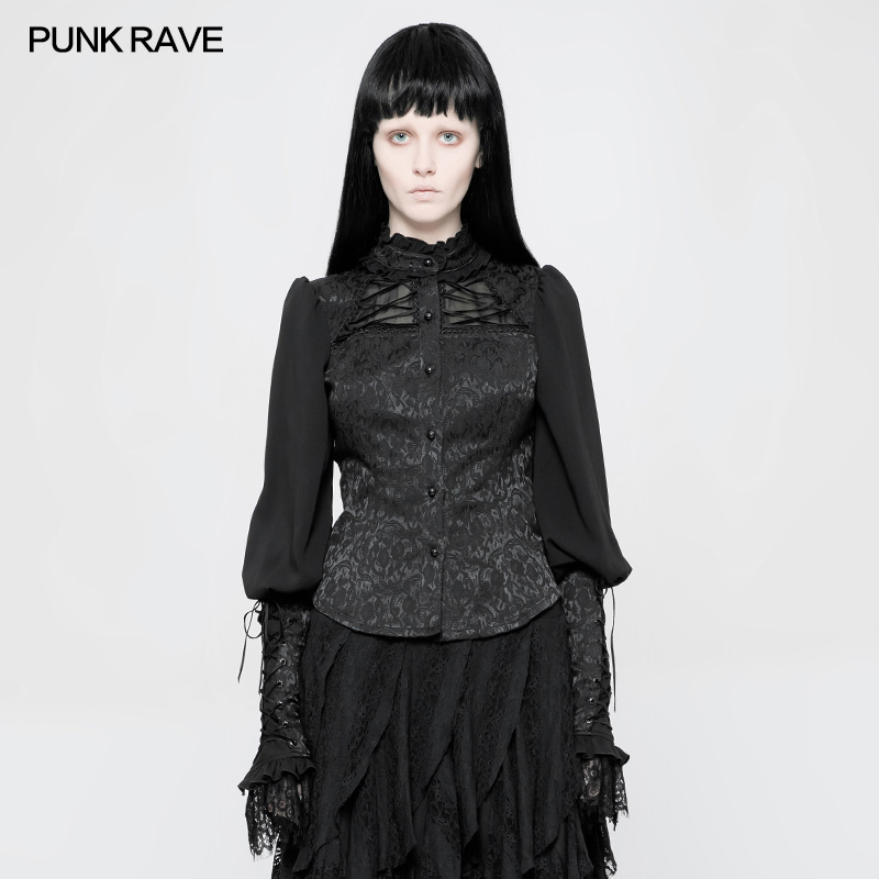 Punk Rave Gothic Fashion Black Retro Jacquard Floral Lace Wearing Rope Lolita Women T Shirt Tops