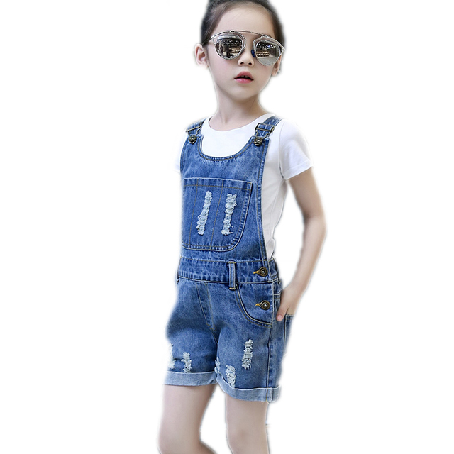 2018 отверстия для девочек-подростков Джинсовые комбинезоны летняя детская Костюмы Повседневное дети чулок Брюки большой Джинсы для девочки для От 5 до 15 лет