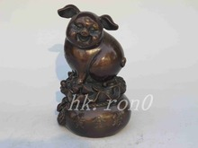 Chinese black bronze statue of wealth and good fortune pig