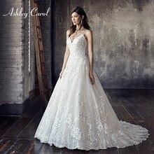 Ashley Carol A-Line Wedding Dress 2019 V-neck Court Train
