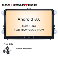 SMARTECH 2Din Android 8.0 OS 9 inch Octa Core 4GB RAM 32GB ROM Car GPS Radio for VW Volkswagen passat b6 golf 5 polo jetta Skoda
