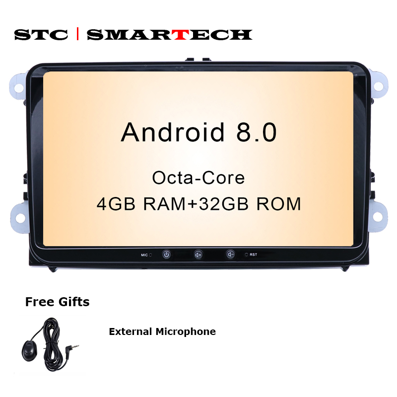 SMARTECH 2Din Android 8.0 OS 9 pouce Octa-Core 4 GB RAM 32 GB ROM voiture GPS Radio pour VW Volkswagen passat b6 golf 5 polo jetta Skoda