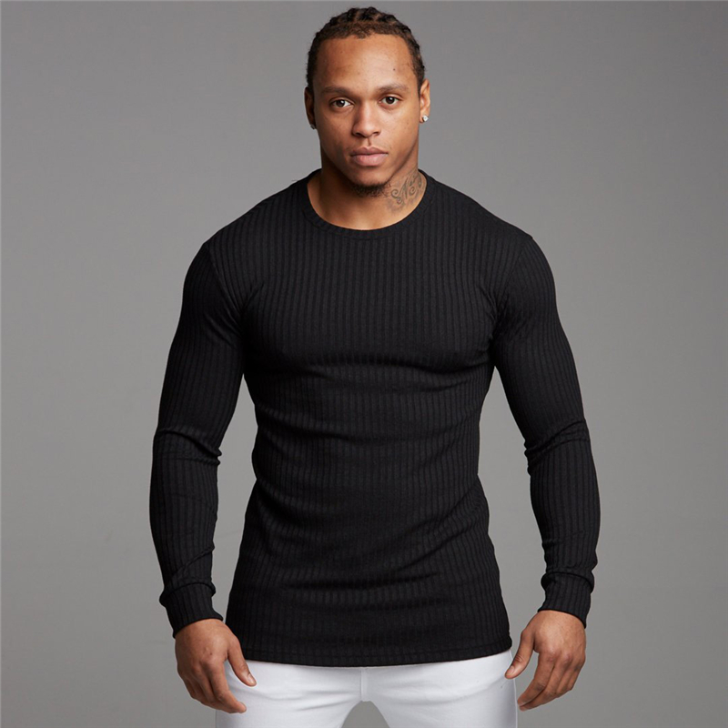 Muscleguys Autumn Men's Sweater T-shirt Mens Long Sleeve Solid Casual Stretch Slim Fit Fitness Clothing Brand Knitted Pullovers
