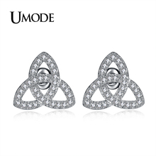 UMODE 2019 New Crystal Geometric Trinity Knot Stud Earrings for Women White Gold Zircon Triquetra Pendientes Mujer Moda AUE0324