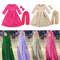 3pcs/set 2016 New Long-sleeved Muslim Girls Dress + Scarf + Bow 3 Sets of Dress