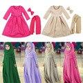 3pcs/set 2016 New Long-sleeved Muslim Girls Dress + Scarf + Bow 3 Sets of Dress