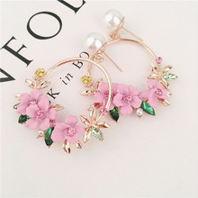 US $0.85 30% OFF|Trendy Cute Pink Flower Earrings For Women Girls Jewelry Female Rhinestone Gold Metal Round Circle Drop Earrings Gifts Brincos-in Drop Earrings from Jewelry & Accessories on Aliexpress.com | Alibaba Group