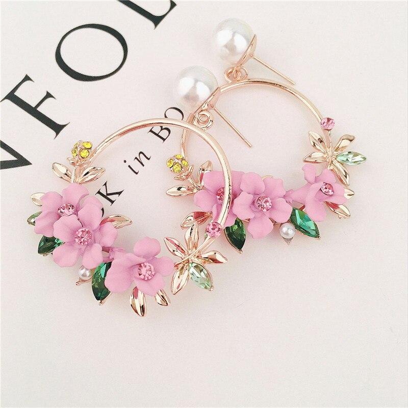 Trendy Cute Pink Flower Earrings For Women Girls Jewelry Female Rhinestone Gold Metal Round Circle Drop Earrings Gifts Brincos