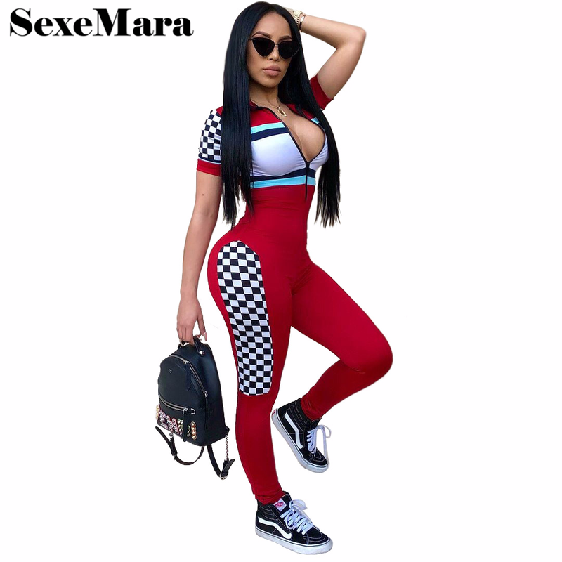 ANJAMANOR Sexy Women Bodycon   Jumpsuit   2019 Summer Romper Streetwear Zipper V Neck Checkerboad Color Block Overalls D30-AD69