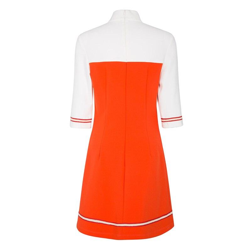 Clothing - A Line 60s Vintage Autumn Turtleneck Colour Block Dress Vintage Style
