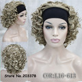 Synthetic Hair Perruque Fake Short Kinky Curly Blonde Black Wig With Headband Wigs Natural For Black Women
