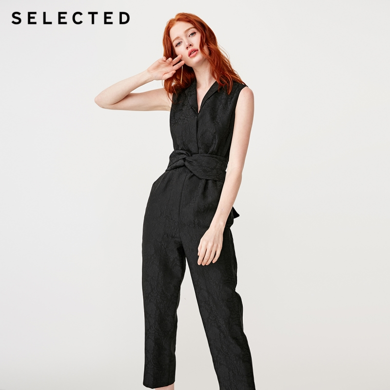 SELECTED Women's Black Sleeveless Slim Fit Jumpsuits S|419144503